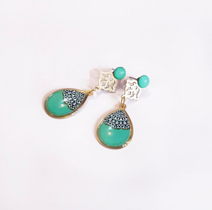Turquoise Persian Paisley earrings - JewlOn