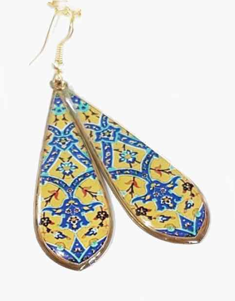Yellow and Blue Long Drop Earrings