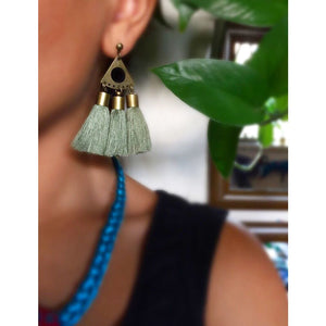 Baluch Needle Craft Olive Green Tassel Earrings - JewlOn