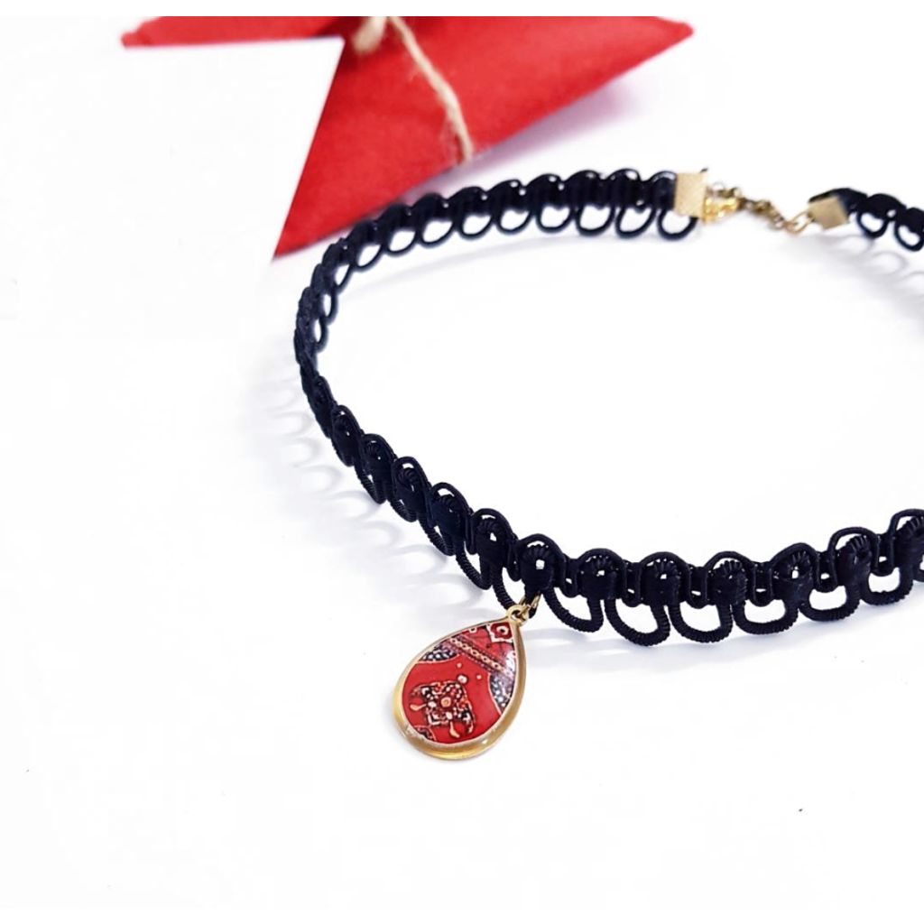 Black fabrix Choker With Red Ottoman Pendant