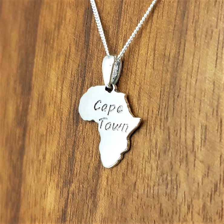 sterling silver cape town in africa frame africa continent south africa souvenir necklace pendant masculine unisex