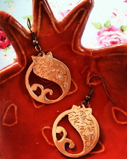 Handcrafted Copper Pomegranate Earrings