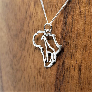 sterling silver giraffe in africa frame africa continent african souvenir pendant necklace