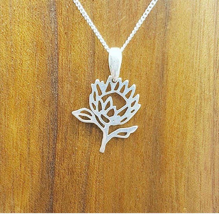 sterling silver protea flower south african souvenir pendant necklace dainty chic unique necklace