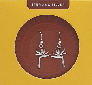 sterling silver strelitzia flower souvenir earrings