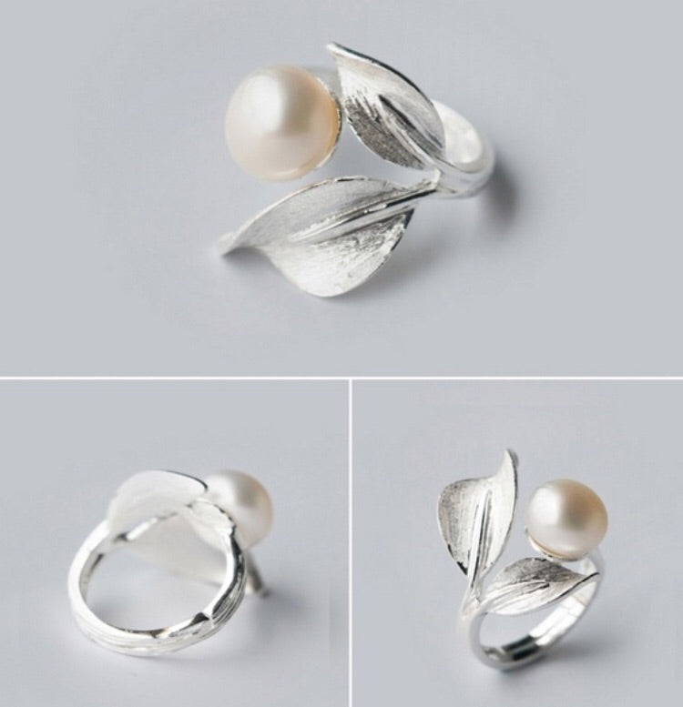sterling silver pearl leaf spiral adjustable unique ring chic engagement ring