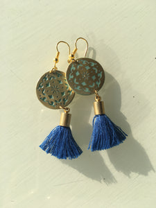 Sufi Blue Tassel Earrings