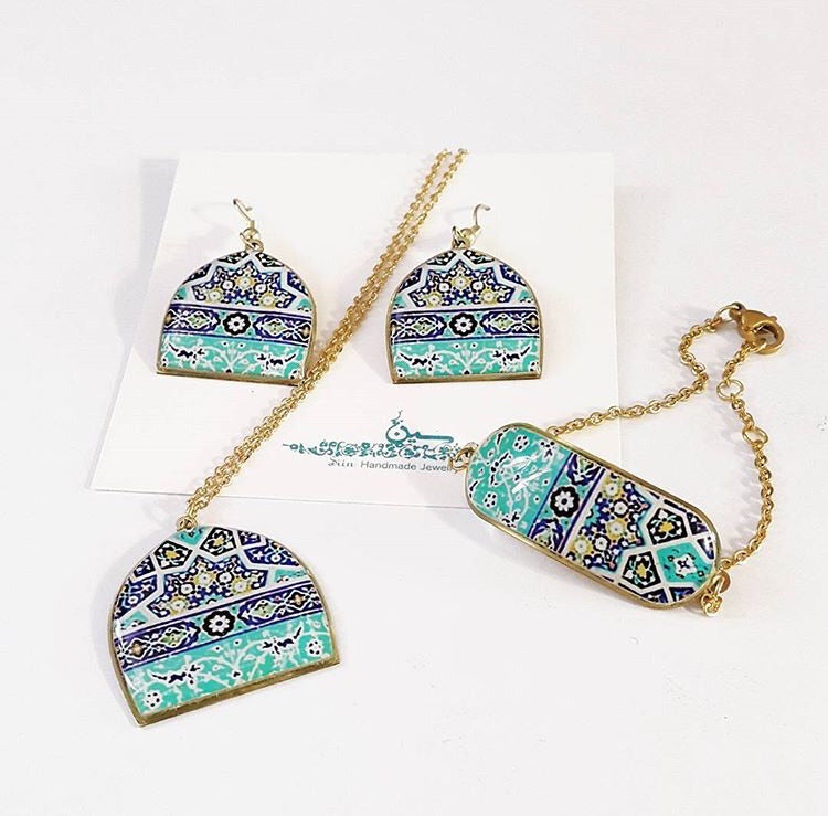 persian turkish blue turquoise pattern dome brass anti allergy coated dangle earrings bracelet necklace
