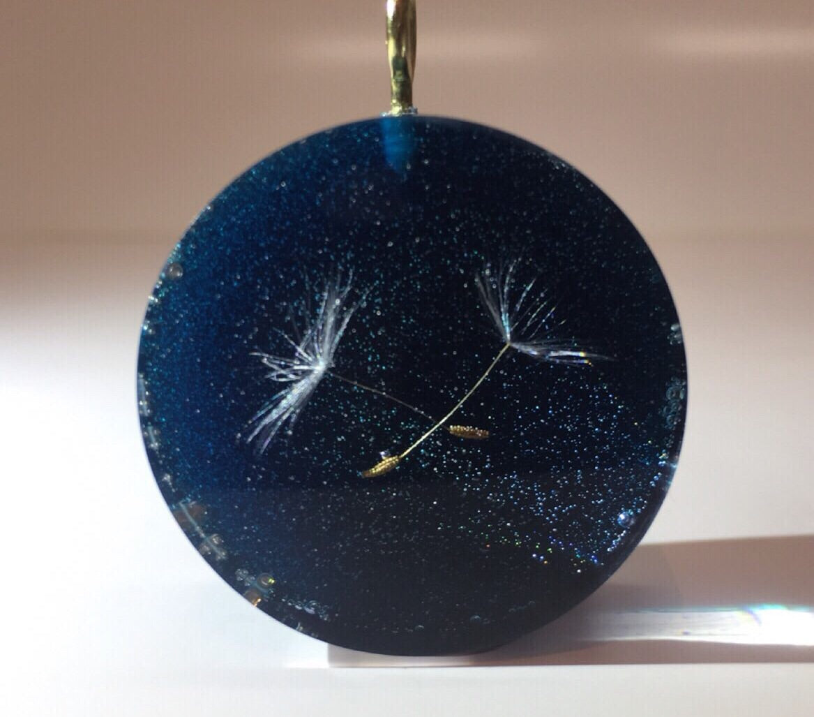 black galaxy dandelion dreamy resin round rectangle pendant necklace handmade unique chic