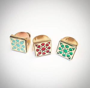 turquoise red green square brass adjustable statement persian turkish pattern ring
