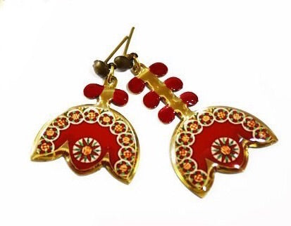 red tulip protea mismatch asymmetric earrings with persian turkish indian morrocan pattern and brass anti allergy coated stud hook casual earrings