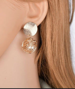 Gold color braided ball and pearl Earrings