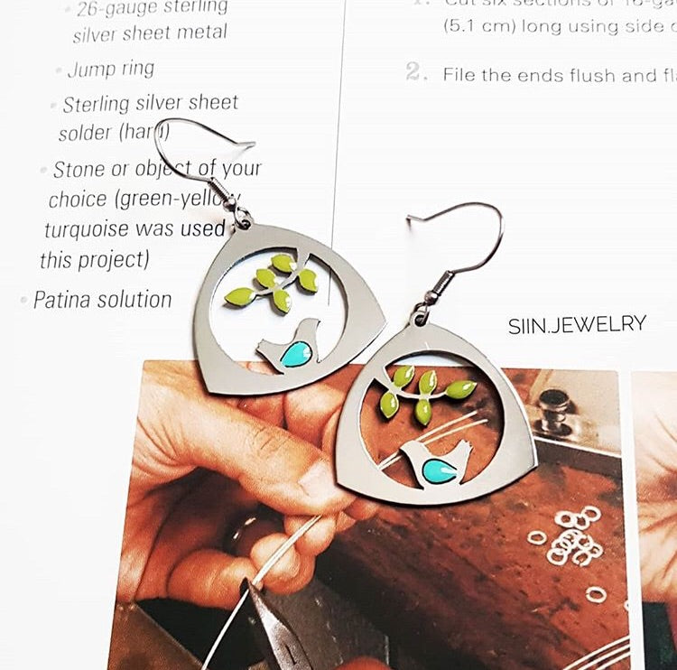 stainless steal cute bird branch bird nest anti allergy dangle earrings