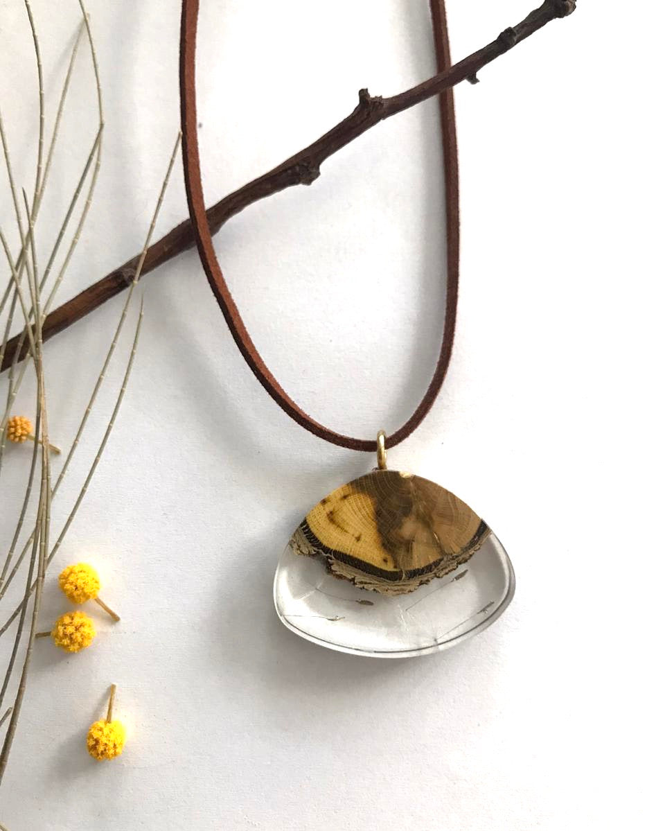 tiny dandelion and wood breeze earthy unisex necklace gift for anniversary birthday christmas