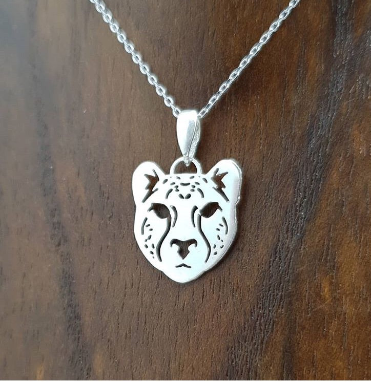 sterling silver cheetah african cat pendant masculine unisex necklace south african souvenir