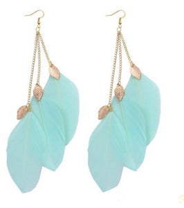 Blue Feather Earrings - JewlOn