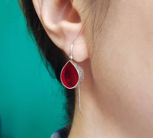sterling silver and red dew drop earring formal chic trendy christmas earrings