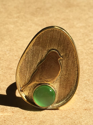 bird dome emerald green egg adjustable brass statement unique occasional ethnic bohemian ring