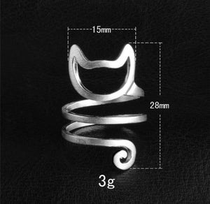 statement adjustable sterling silver ring in shape of cat kitten rolling around finger cat lovers dream ring casual perfect gift for woman and men unisex