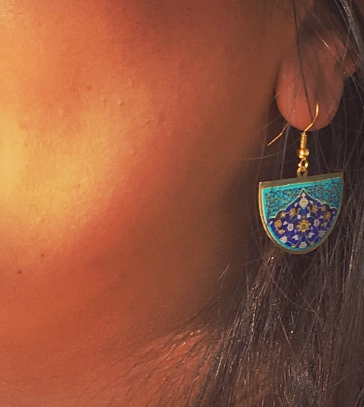 ethnic turkish persian pattern turquoise and blue half circle earrings dangle chic trendy brass earrings