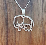 Sterling silver mama and baby elephant