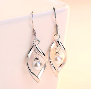 sterling silver pearl dangle chic formal casual earrings