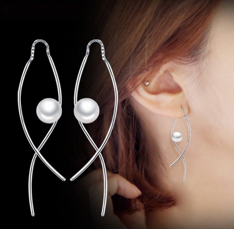 925 Sterling Silver Irregular Hanging Pearl Earrings