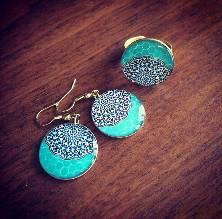 turquoise round brass adjustable statement persian turkish pattern ring and earrings chic