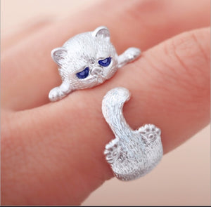 Sterling Silver Plated Adjustable Kitty paw Ring