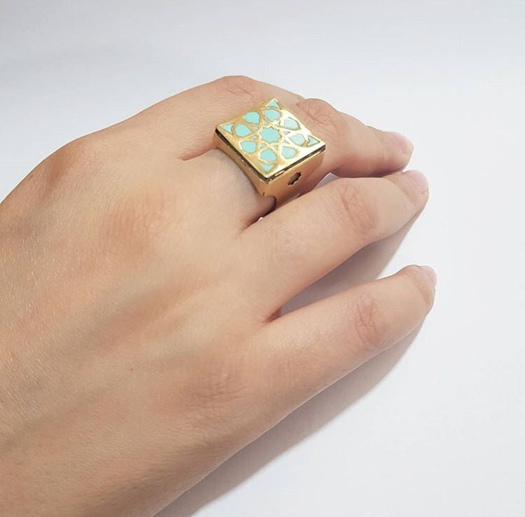 turquoise square brass adjustable statement persian turkish pattern ring