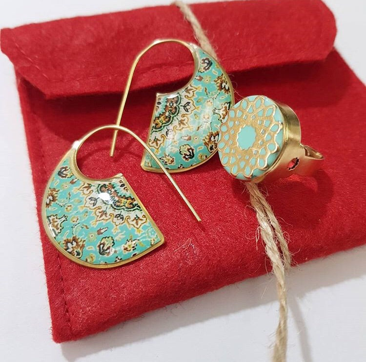 Peony persian turkish morrocan green turquoise elepahnt ear inspired brass anti allergy unique style Earrings