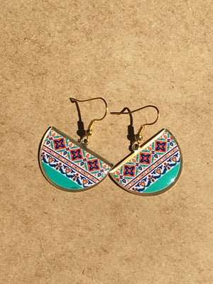 turkish persian pattern turquoise and blue and purple half circle earrings dangle chic trendy brass earrings