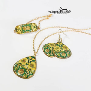 yellow green turkish persian morrocan pattern unique brass necklace earrings bracelet set lotus