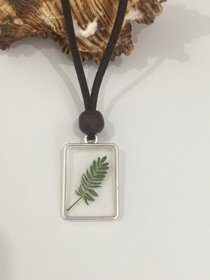 rectangle leaf necklace earthy