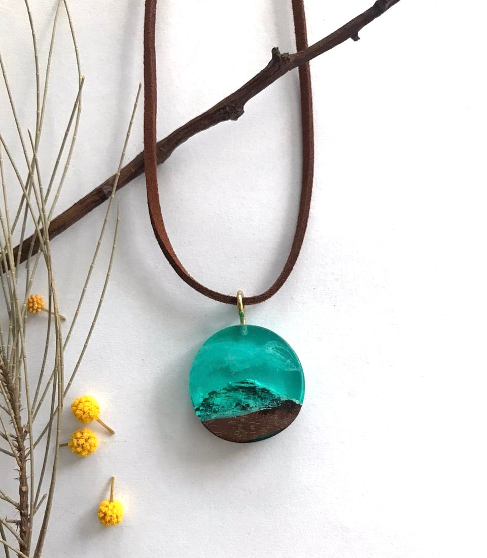 unisex snowy mountain wood resin blue necklace gift birthday anniversary christmas gift
