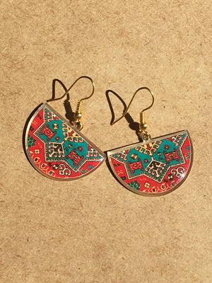 turkish persian pattern turquoise and red half circle earrings dangle chic trendy brass earrings