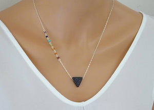 chakra necklace with triangle lava stone spiritual necklace