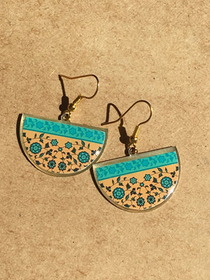 turkish persian pattern turquoise and blue and yellow gold half circle earrings dangle chic trendy brass earrings