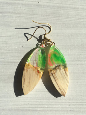 green with hint of orange resin and wood leaf shape epoxy earrings hippy style cool trendy earrings