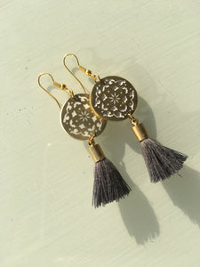 Sufi Grey Tassel Earrings