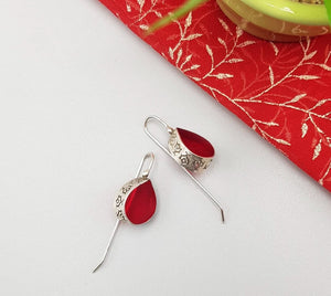 sterling silver and red dew drop