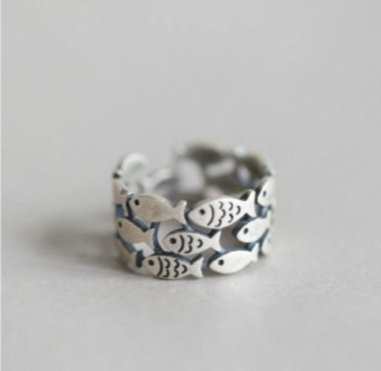 Sterling Silver Plated Adjustable Fish Ring