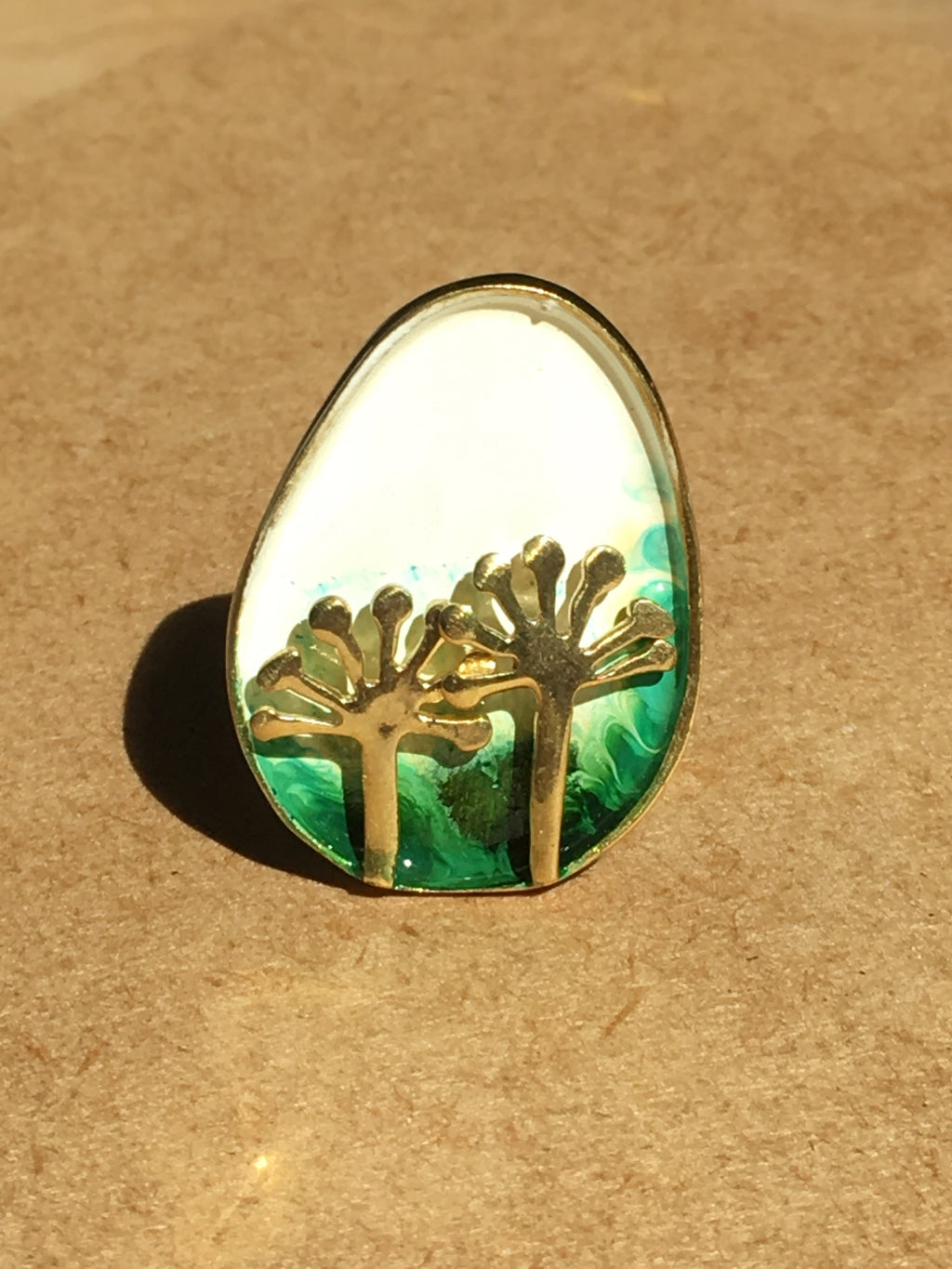 dandelion beautiful statement brass adjustable funky green white occasional summery ring
