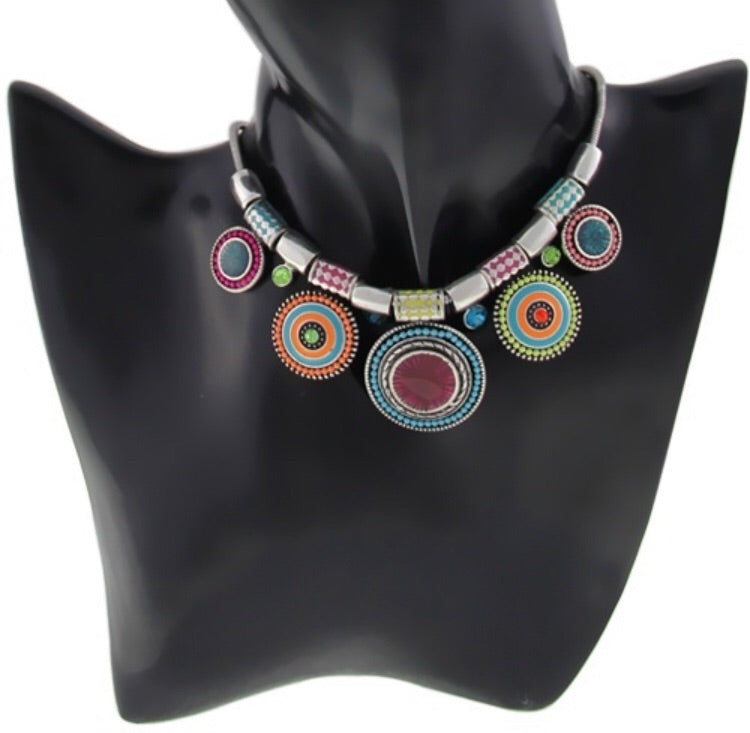 Silver plated ethnic necklace