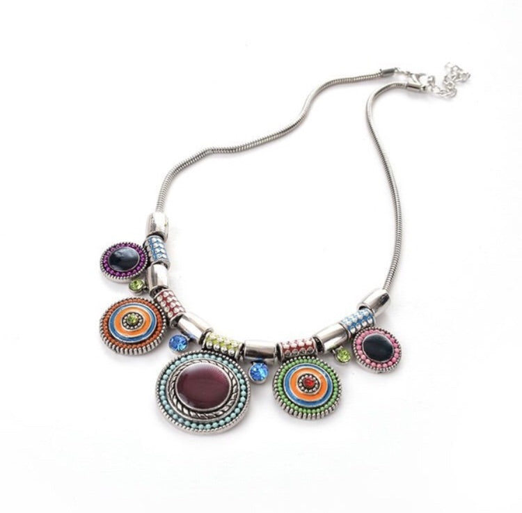 Ethnic silver plated african necklace