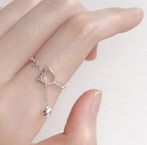 Sterling Silver Adjustable Cat and ball Ring