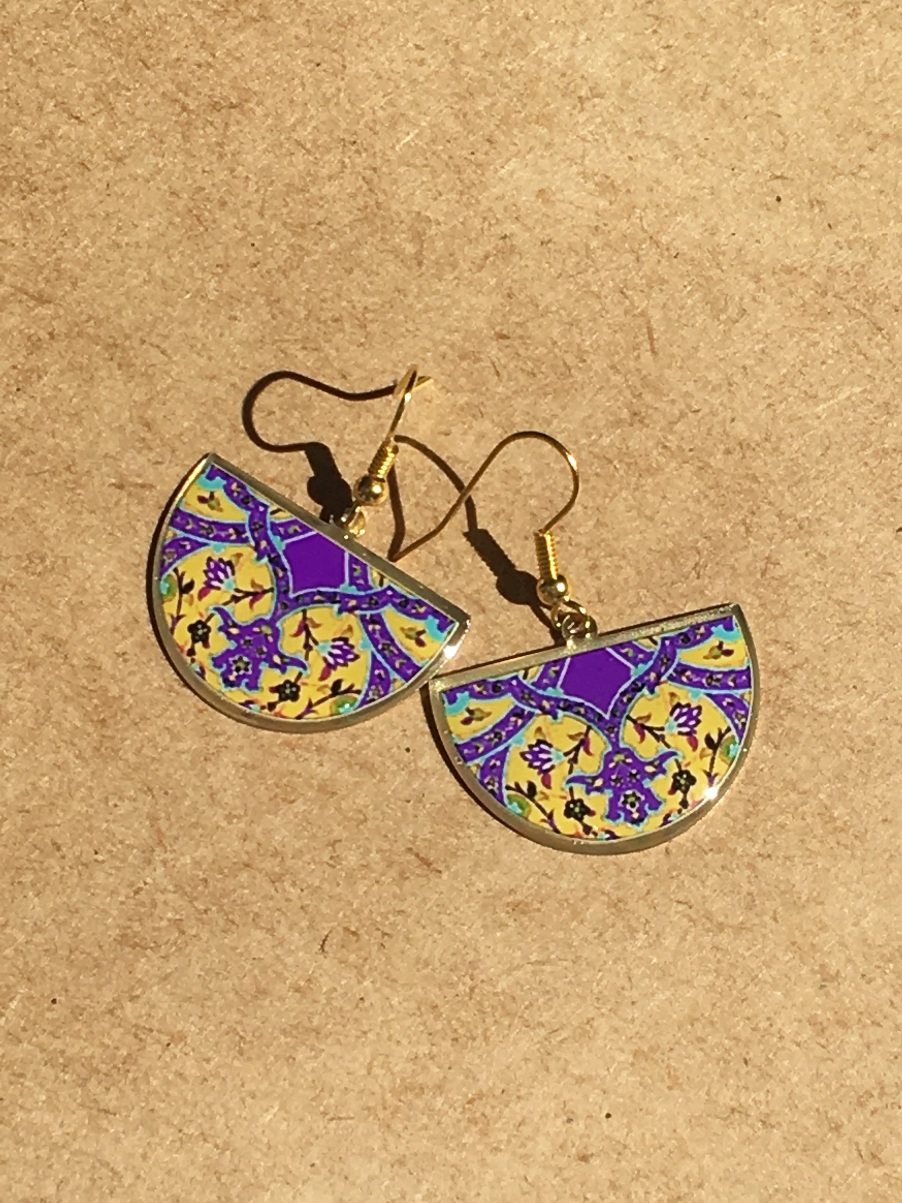 turkish persian pattern yellow and purple half circle earrings dangle chic trendy brass earrings