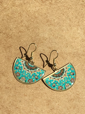 turkish persian pattern turquoise and green half circle earrings dangle chic trendy brass earrings