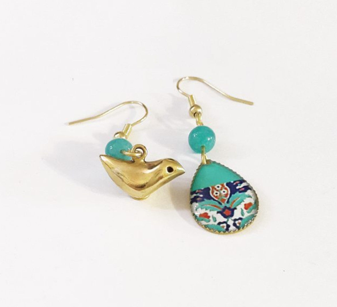 asymmetric mismatched unique contemporary gold bird and turquoise drop persian turkish pattern anti allergic coated brass dangle earring mismatched earrings
