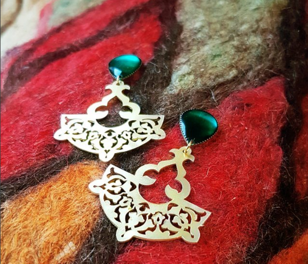 Sufi emerald gold earrings
